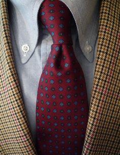 English linen & wool Gun Club jacket, American OCBD, English silk madder tie. J. Press, Brooks Brothers, and Chipp. Anglo-American.