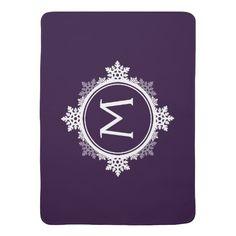 Snowflake Wreath Monogram in Dark Purple & White Receiving Blanket