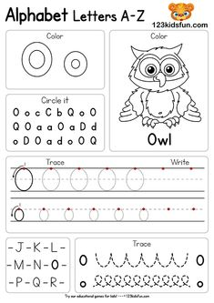 Free Alphabet Practice A-Z Letter Preschool Printable Worksheets to Learn Kids Preschool Writing, Preschool Letters, Preschool Activities, Preschool Lessons, Preschool Learning, Kids Letters, Kids Alphabet, Teaching, Printable Preschool Worksheets