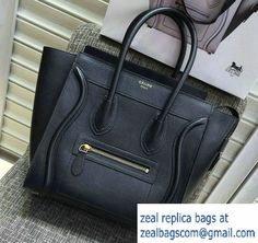 Celine Luggage Micro Tote Bag in Original Goatskin Leather Black 2016