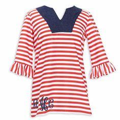 Ladies Red Stripe Dark Denim Top