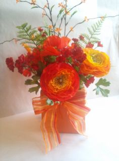 Gorgeous Orange and Red Flowers Silk Flower by NauticoCreations, $32.00