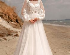 Women's Shoes | Etsy Half Sleeve Wedding Dress, Wedding Gowns With Sleeves, Long Sleeve Wedding, Ivory Wedding, Tulle Wedding, Dream Wedding Dresses, Wedding Dress Necklines, Bishop Sleeve, Beautiful Dresses