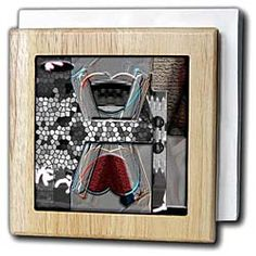 Black,White,Tan, Blue and Maroon Colors and Textures Manipulated to Look like Stain Glass and Chrome Tile Napkin Holder