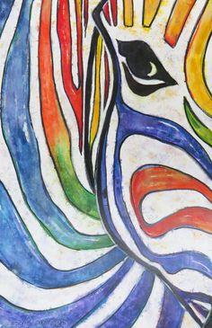 Colorful Zebra by Debbie Crawford