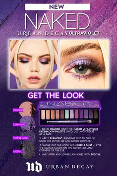 A vivid new addition to our eyeshadow palette lineup, Naked Ultraviolet 's peachy neutrals, lavenders and violets create endless looks with a purple pop. Purple Eye Makeup, Makeup Eye Looks, Eye Makeup Steps, Beautiful Eye Makeup, Skin Makeup, Eyeshadow Makeup, Eyeshadow Palette, Makeup Tips, Beauty Makeup