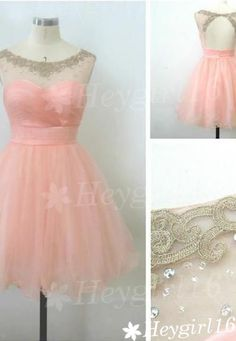 Lovely Exquisite Transparent Pearl Pink Ball Gown Round Neckline Mini Prom/Homecoming Dress