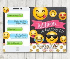 Printable Emoji Birthday Party Invitation, Chalkboard Emoji invitations, iphone Birthday Invitation, Glitter Emoji Bday Invite, Emoticons