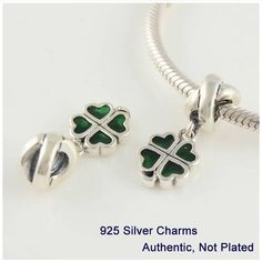 Green Enamel Four-leaf Clover Pendants Charm 925 Sterling Silver Fit Bracelets & Necklaces Diy Fine jewelry Free shipping PW071B #Affiliate