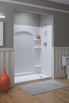 freshen up your bathroom by adding this spacious sterling ensemble curve shower kit with right drain in white