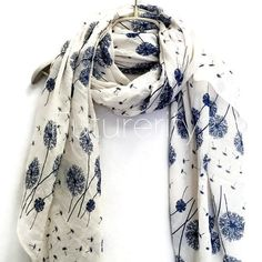 Floating Dandelion White Scarf / Spring Summer scarf / Women Scarves / Gifts For Her / Accessories / Handmade