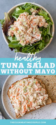 A Healthy Tuna Salad Without Mayo Recipe that is super easy to make with greek yogurt. High protein, gluten free and delicious! Lunch Recipes, Seafood Recipes, Healthy Dinner Recipes, Ww Recipes, Salad Recipes, Healthy Meal Prep, Healthy Eating, Healthy Food, Clean Eating