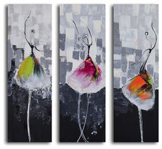 """Tutu Trio"" Hand-Painted 3-Piece Canvas Set - modern - artwork - My Art Outlet"