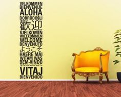 Welcome in many languages Languages, Welcome, English, Graphic Design, Quotes, Home Decor, Idioms, Quotations, Decoration Home