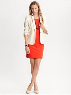 contrast-trim blazer & cap sleeve ponte knit dress - banana republi