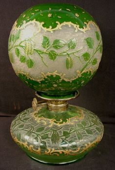 Green Victorian Oil Lamp With Etched Decoration And Gold Painting
