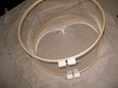 Diy drum light shade! Embroidery hoops + plexi glass + fabric = genius!