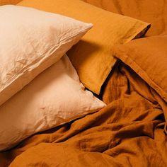 Luxury Bedding Sets For Less Refferal: 9835880391 Bed Linen Sets, Linen Pillows, Linen Bedding, Bed Linens, Peach Bedding, Mustard Bedding, Orange Bedding, Bed Linen Design, Bed Design