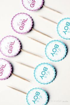 Baby Shower Cupcake Toppers, Set of 12 by limefishshop on Etsy