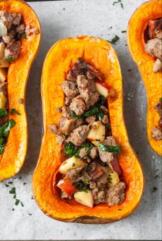 Whole 30 Recipes, Fall Recipes, Grain Free, Dairy Free, Whole30 Sausage, Cut Butternut Squash, Ground Sausage, Dried Cranberries, Spaghetti Squash