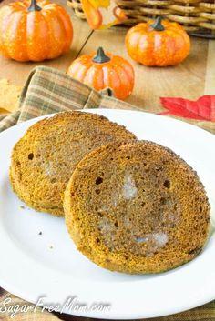 1-Minute Low Carb Pumpkin English Muffin- grain free, gluten free, paleo- sugarfreemom.com