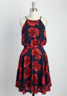 That's My Jam Dress. At the farmers market, you can be found selling your canned creations with a brightness that matches the vibrancy of this navy dress! #blue #modcloth