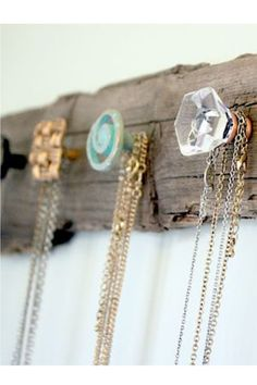 Make planet earth proud by reusing and recycling wood scraps and those old doorknobs that your parents have stashed in the basement or attic to create a jewelry display for your wall. Find this idea on Pinterest.