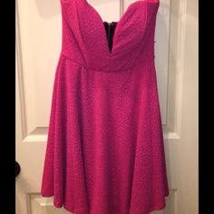 Hot Pink Strapless Dress Super chic strapless dress in hot pink in shimmery fabric.   This dress can go anywhere! Excellent pre worn condition-worn only once!! Dresses Strapless