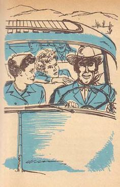 Trixie tries to question Tenny on the way to the rodeo. (16) Illustration by Mary Stevens is from the 1958 Cello edition of Trixie Belden and the Mystery in Arizona.