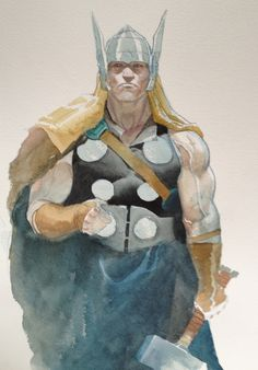 Thor Esad Ribic/ from the comic book not the real Thor as we all know He has red hair. but does this not look like the image in our minds eye, of our Thor?