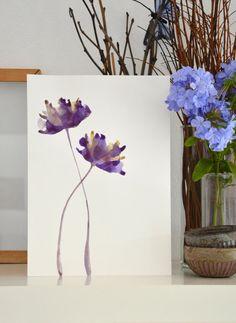 Pinturas sobre papel acuarela primavera floral mínimo movimiento pared arte tinta pared decoración dos tulipanes de dibujo de la tinta original flores de tulipán
