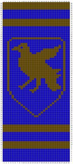 Harry Potter Scarf, Harry Potter Crochet, Knitting Patterns Free, Crochet Patterns, Ravenclaw Scarf, Crochet Bodies, Pixel Art Templates, Crochet Cross, Crochet Scarves