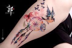 dreamcatcher butterfly tattoo - Google zoeken. Love the feathers & the bird
