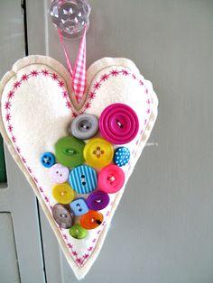 colorful felt heart