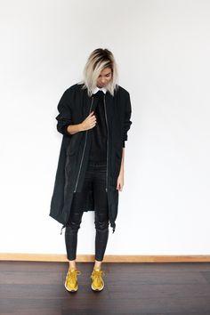 H&M TREND coat, DESIGNERS REMIX top, COS collar, ZARA pants, NIKE Huarache Bronzine