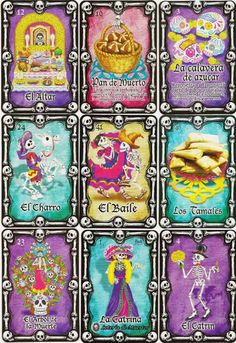 'LOTERIA DE MUERTOS' DAY OF THE DEAD THEMED MEXICAN LOTERIA