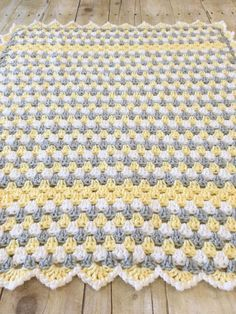 Yellow Grey Blanket Crochet Baby Blanket Granny Square