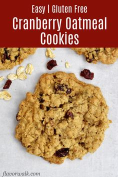 These Gluten Free Cranberry Oatmeal Cookies are filled with sweet cranberries, crunchy walnuts, and lots of oats. They're sweet, chewy, and impossible to resist! Best Gluten Free Cookies, Gluten Free Christmas Cookies, Walnut Cookies, Oatmeal Cookies, Oatmeal Butterscotch Cookies, Oat Cookie Recipe, Gluten Free Oatmeal, Cookie Calories, Gluten Free Baking
