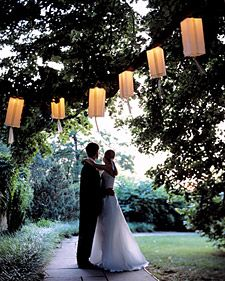 Pretty lanterns made out of Christmas lights and paper bags!