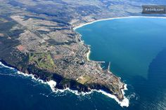 Mossel bay on the Garden Route, South Africa - aerial of the peninsula. Mossel Bay has the second most moderate climate in the world - after Hawaii - making it a very popular holiday and retirement destination.