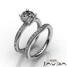 Round Diamond Engagement Pave Ring EGL E VS1 Bridal Set 14k White Gold 2 26 Ct | eBay