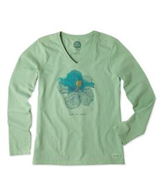 Loving this Minty Green Engraved Hibiscus Long-Sleeve Crusher V-Neck Tee on #zulily! #zulilyfinds