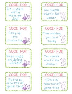 Easter Egg Coupons – Free Printable....I love this idea!