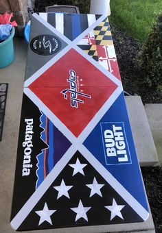 Hand painted DIY beer pong table! Follow me on instagram @lee.mcnally to buy a customized table! #Beerpong #beerpongtable #handpainted #patagonia #budlight #capitals Custom Beer Pong Tables, Beer Table, Diy Table, Cooler Painting, Diy Painting, Beer Bong, Frat Coolers, Cool Tables, Sorority Crafts