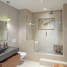 modern bathroom, floating toilet, built in shower bench