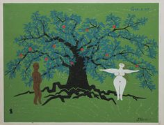 (Adam and Eve and Garden of Eden) by Tomikichiro Tokuriki