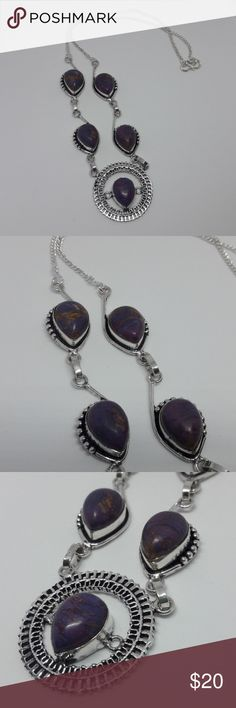 Purple Copper Turquoise necklace This stone is a beautiful composite in a silver plated setting. Five purple stones. Jewelry Necklaces