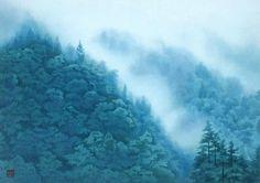 """Kaii Higashiyama (東山 魁夷 Higashiyama Kaii, July 1908 – May was a Japanese writer and artist particularly renowned for his Nihonga style paintings. Japanese Mountains, Mountain Paintings, Painting Gallery, Art Academy, Japanese Painting, Japanese Prints, Japan Art, Love Art, Clouds"