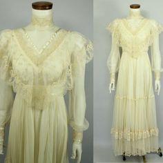 Victorian - Edwardian Style - Ivory - Cream - Lace - Mesh Netting - High Collar - See Through - Bridal Wedding Dress - Gunne Sax Style - 70s