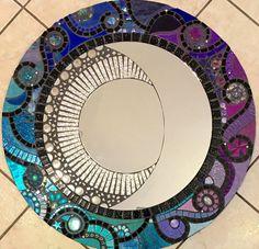 Miroir en mosa que avec fleurs en c ramique fait main for Miroir vitrail modeles